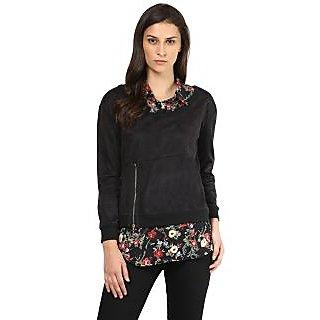 Remanika Black Plain Shirt Collar Crop Tops