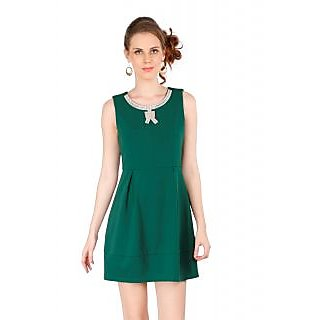 Remanika A Line Green Plain Women's Dress
