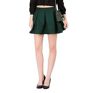 Remanika A-line Green Plain Women's Skirt