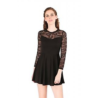 Remanika A Line Black Plain Women's Dress