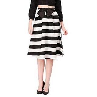 Remanika A-line Black Striped Women's Skirt