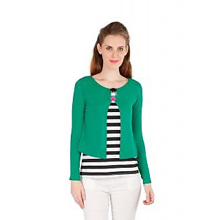 Remanika Green Striped Boat Neck Crop Tops