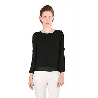 Remanika Black Plain Round Neck Crop Tops