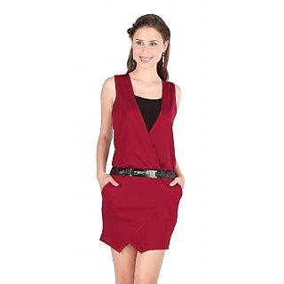Remanika Shift Maroon Plain Women's Dress