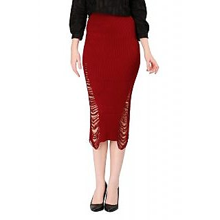 Remanika A-line Maroon Plain Women's Skirt
