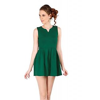 Remanika Shift Green Plain Women's Dress