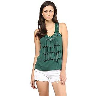 Remanika Green Embroidered V-Neck Crop Tops