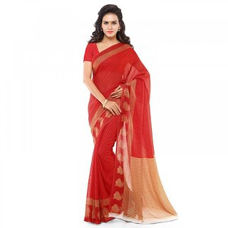 Thankar Red Faux Georgette Printed Saree