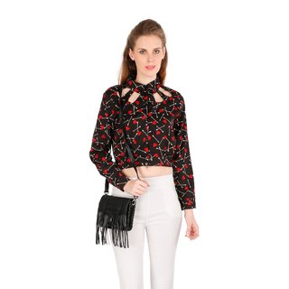 Remanika Black Printed Shirt Collar Regular Shirts