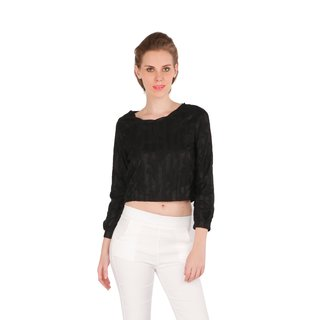 Remanika Black Embroidered Round Neck Crop Tops