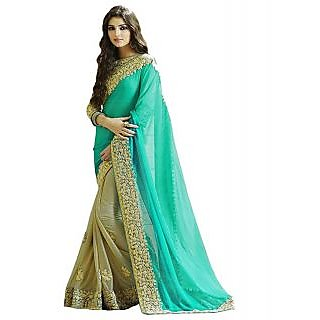 Turquoise Color Lycra  Net Embroidered Party Wear Saree with Blouse Piece-J859SEST-01