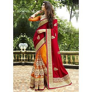 Leeps Prints Designer net Georgette Orange Maroon saree ( with Blouse)
