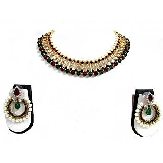 Maroon Green Glass Beads Disco Necklace Set