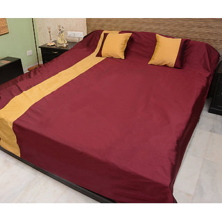 Home Kouture Polyester Silk Double Bed Cover (Maroon  Yellow)- Reversible-1 Bed Cover  2 Cushion Covers-288 cms by 267