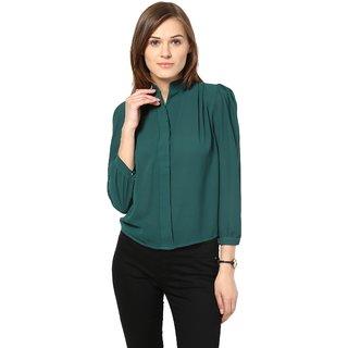Remanika Green Plain Shirt Collar Crop Tops