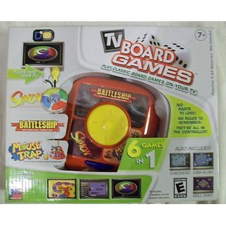 TV Board Games - Play Classic Board Games on your TV - 6 Games in One Controller - Simon  Battleship  Mouse Trap  Checkd
