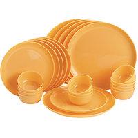 Microwave Plate & Bowl Round Dinner Set - 24 Pcs Set Yellow