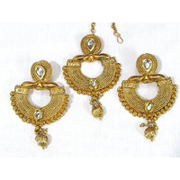 Golden Drop White Stone Earring With Maang Tikka