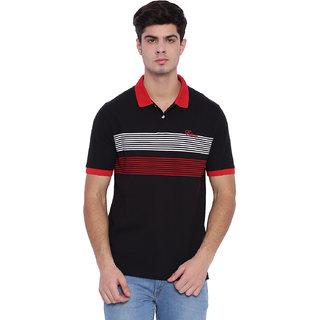 Edberry Men's  Black & Red Striped Polo Neck T-Shirt
