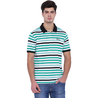 Edberry Men's  Navy White  Green Striped Polo Neck T-Shirt