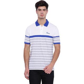 Edberry Men's  Grey Striped Polo Neck T-Shirt