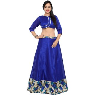 Aagaman Beautiful Blue Colored Printed Art Silk Festival Lehenga Choli Without Dupatta