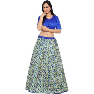 Aagaman Charming Multi Colored Printed Art Silk Festival Lehenga Choli Without Dupatta