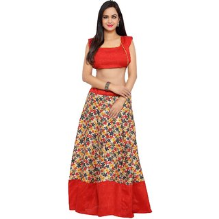 Aagaman Pretty Multi Colored Printed Art Silk Festival Lehenga Choli Without Dupatta