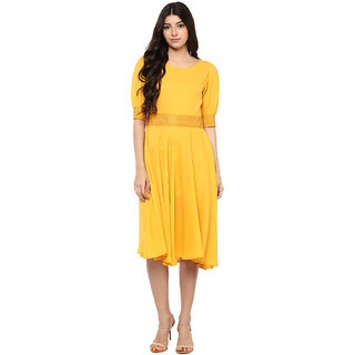 Musturd Lace waist dress