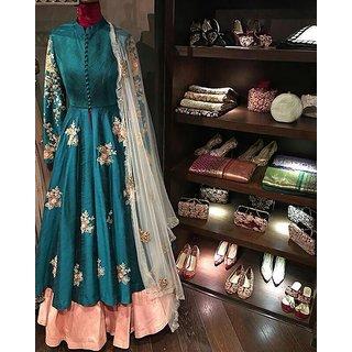 Edeal Online Rama And Orenge Banglori Silk Anarkali Drees