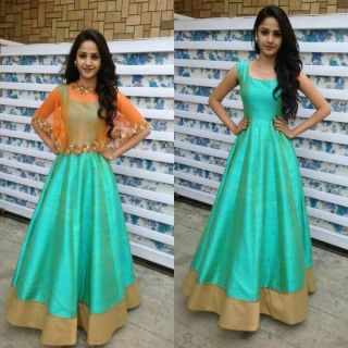 Edeal Online Sky Blue And Orenge Banglori Silk Anarkali Drees