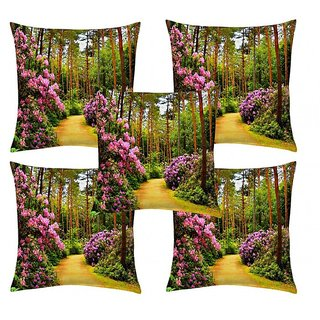 Home Diva Multicolor Polyester Digital print Cushion Covers Set of 5- (HDCC006)