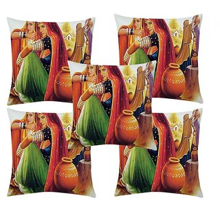 Home Diva Multicolor Polyester Digital print Cushion Covers Set of 5- (HDCC009)