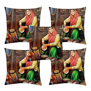 Home Diva Multicolor Polyester Digital print Cushion Covers Set of 5- (HDCC024)