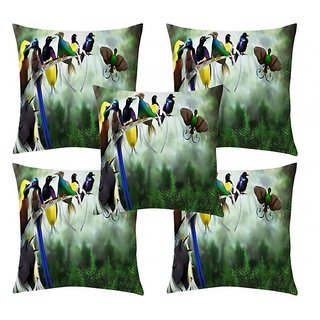 Home Diva Multicolor Polyester Digital print Cushion Covers Set of 5- (HDCC037)