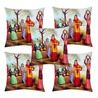 Home Diva Multicolor Polyester Digital print Cushion Covers Set of 5- (HDCC038)