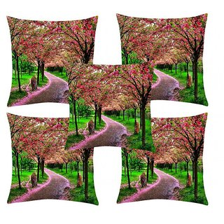 Home Diva Multicolor Polyester Digital print Cushion Covers Set of 5- (HDCC040)