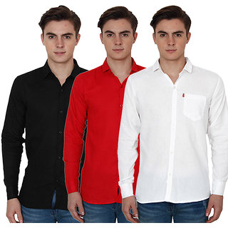 New Democratic Pack Of 3 Plain Casual Slimfit Shirts (Black Red White)