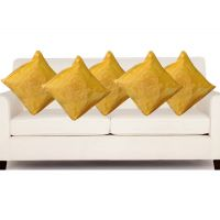 Hard Rock Set Of 5 Attractive Rose Design Cushion Cover-yellow