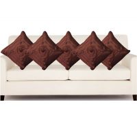 Hard Rock Set Of 5 Attractive Rose Design Cushion Cover-brown