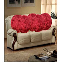 Hard Rock Set Of 5 Attractive Circle Rose Design Cushion Cover-dark Pink
