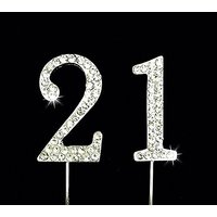 21st Birthday / Wedding Anniversary Number Cake Topper with Sparkling Rhinestone Crystals - 1.75