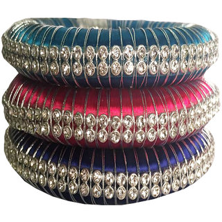 Kuhuk Multi Color Silk Thread Plastic Bangle Set PIY0101
