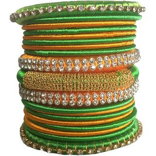 Kuhuk Multi Color Silk Thread Plastic Bangle Set PIY0113