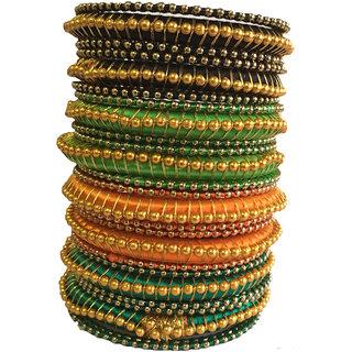 Kuhuk Multi Color Silk Thread Plastic Bangle Set PIY0211