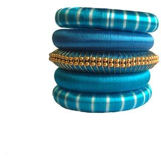Kuhuk Multi Color Silk Thread Plastic Bangle Set PIY0224