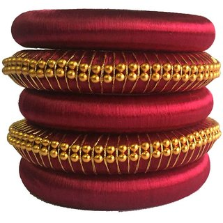 Kuhuk Multi Color Silk Thread Plastic Bangle Set PIY0225