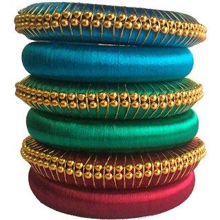 Kuhuk Multi Color Silk Thread Plastic Bangle Set PIY0226