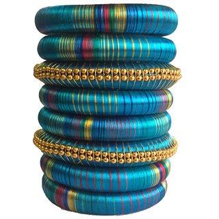 Kuhuk Multi Color Silk Thread Plastic Bangle Set PIY0234