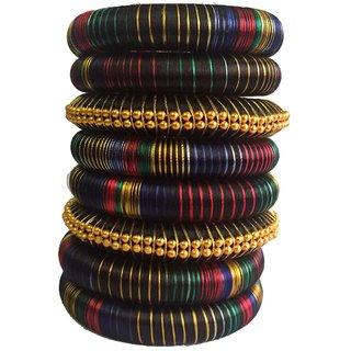 Kuhuk Multi Color Silk Thread Plastic Bangle Set PIY0235